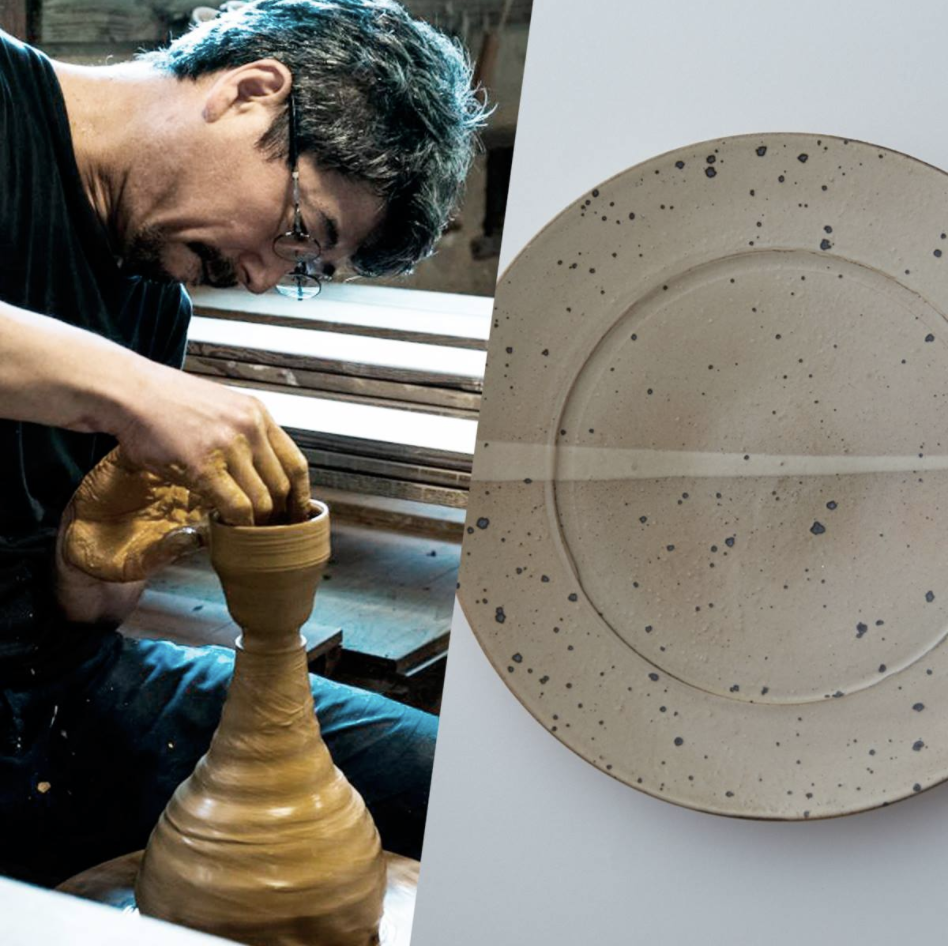 唐津焼の枠を超え独自の作風を確立。隆太窯「唐津粉引皿」。