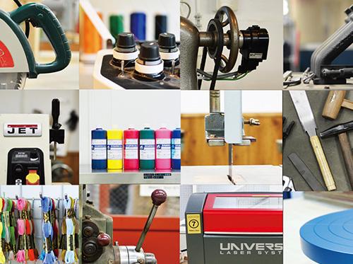 金工、木工、陶芸、縫製など多領域に渡る100種類以上の機器