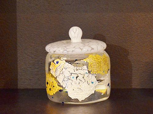 金箔、銀箔を纏った吹きガラスのジュエリーボックス